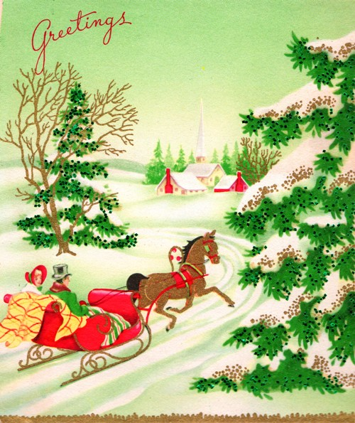 Holiday Card - Greeting Card - Christmas Card - Sleigh - Winter Scene - Pine Trees