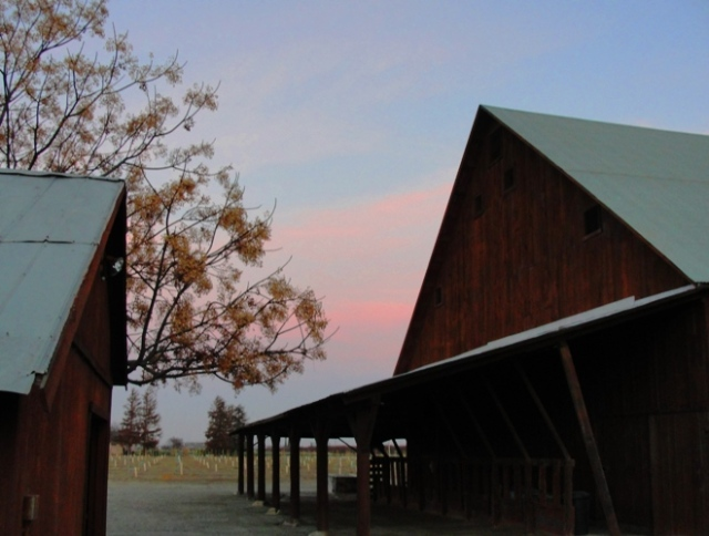 Barn at Dusk - Winter Barn - Barn at Sunset - Backset - Silhouette