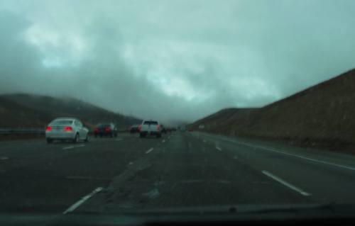 Dark and Dreary California Winter - Altamont Pass - Rain Clouds - Traffic in the Rain