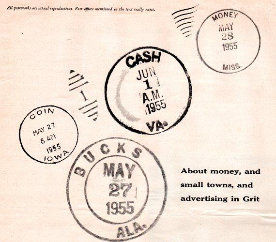 Grit Magazine - Coin, Iowa - Bucks, Alabama - Cash, Virginia - Money, Mississippi