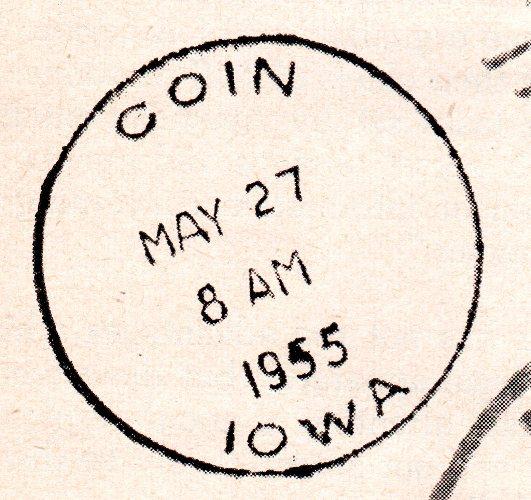 Coin, Iowa - Postmark 1955 - Grit Magazine