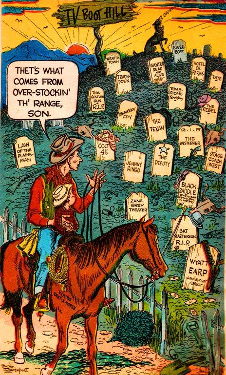 TV Boot Hill - Death of TV Westerns - 1961 - Des Moines Register - Bob Davenport - Cartoon