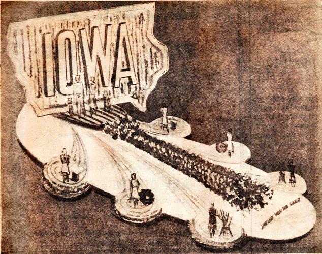 1957 Rose Parade - Iowa - Award Winning Float - Rose Bowl