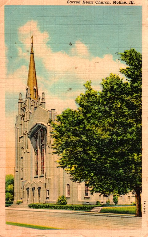 Sacred Heart Church - Moline, Illinois - Travel Post Cards - Memories - Cross Country Trip