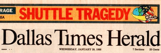 Challenger Shuttle Tragedy - Dallas Times Heral - Space Shuttle - Newspaper Clippings