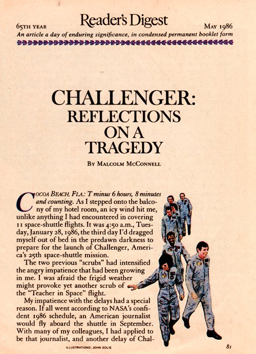 Challenger Tragedy - Reader's Digest - Memories