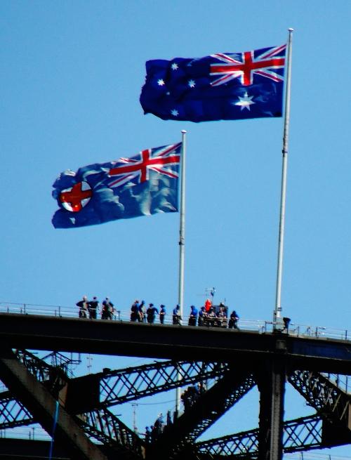 Sydney Harbour Bridge - Bridge Clime - Sydney, Austrlia - Australian Flags