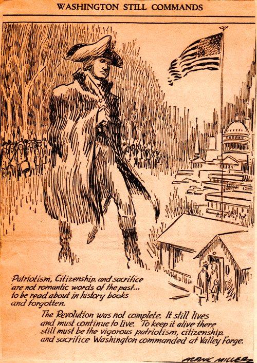 Washington Still Commands - Editorial Cartoon - Frank Miller - Frank Andrea Miller - President Washington - Washington's Birthday