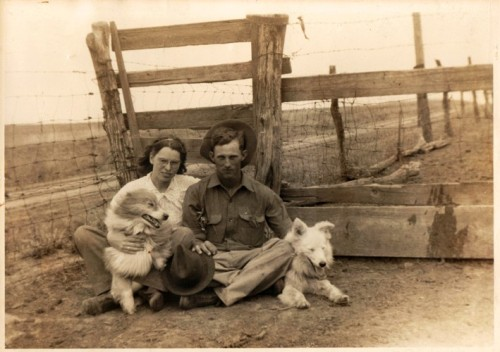Love at the Farm - Engagement Picture - Grandma and Grandpa with Dogs - Farm Picture