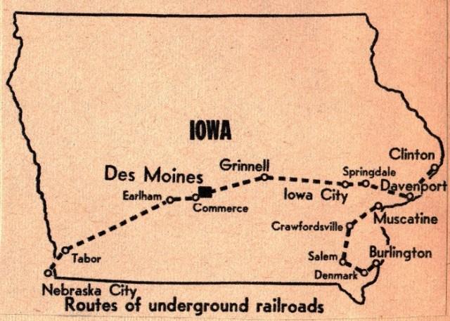Underground Railway in Iowa - Map of Underground Railway - Abolitionists - John Brown - Tabor, Iowa