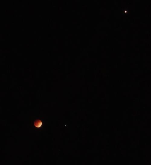 Spica - Virgo - Constellation Virgo - Lunar Eclipse - Night Sky - Moon and Mars