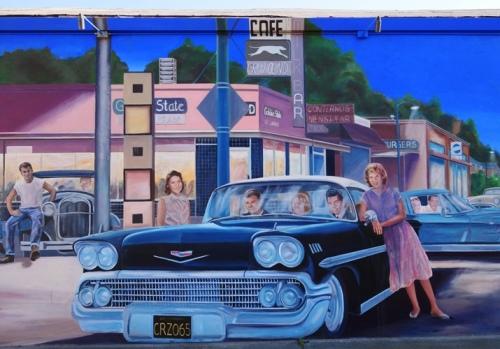 Mural - D.S. Gordon - Cruising Manteca - Yosemite Avenue - Greyhound