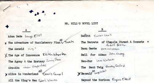 Mr. Hill's Novel List - Reading List - English Class