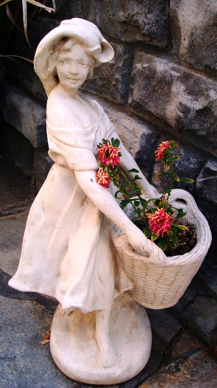May Day - Flowers in Baskets - Girl with flowers - Spring Blooms