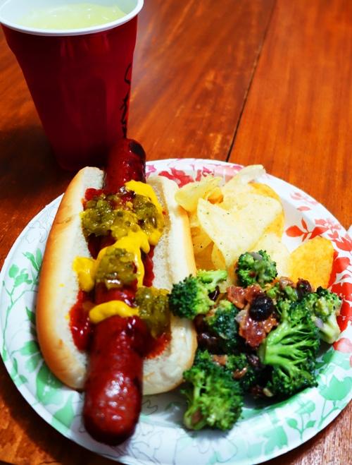 Birthday Dinner, Hot Dog, Brocoli Salad, Chips