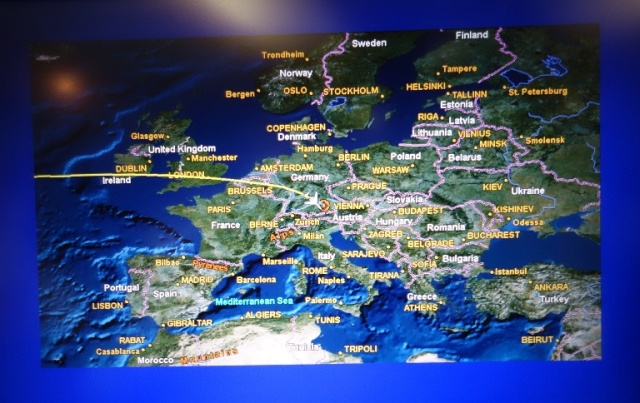 Map of Flight to Munich - 767 Map Program - United Airlines Map