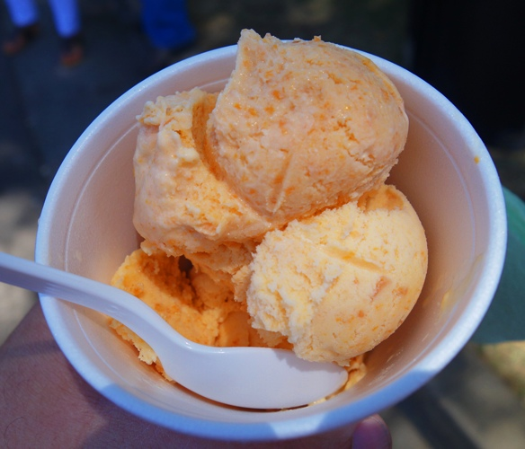 Apricot Ice Cream, Two Scoops in a Cup, Patterson, California, Apricot Fiesta