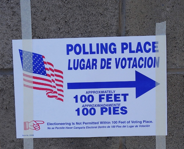 Polling Place, bilingual election sign, no electioneering, election day