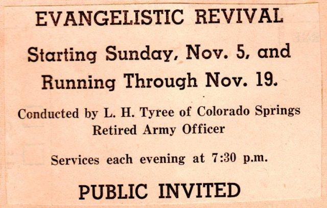 Evangelistic Revival, Revival Meeting, Hamburg, Iowa, L.H. Tyree