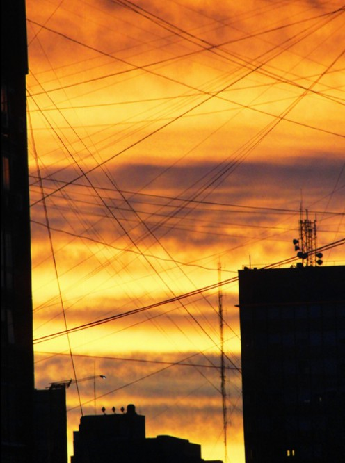Buenos Aires Sunset, Golden Sky, Colorful Sky, Electric Lines, Hotel View