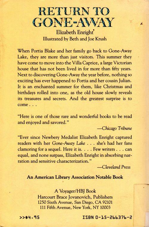 Return to Gone-Away, Elizabeth Enright, Children's Literature