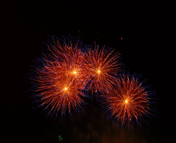 Fireworks, four shells, purple, orange, Best Fireworks, Tracy, California