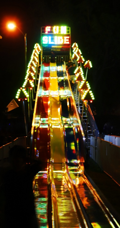 Big Slide, Flourescent Lights, Big Slide at Night, 4th of July, Carnival Rides