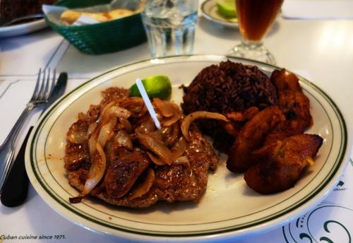 Palomilla a la Plancha, Cuban Cuisine, Versailles, Plantains, Beans and Rice