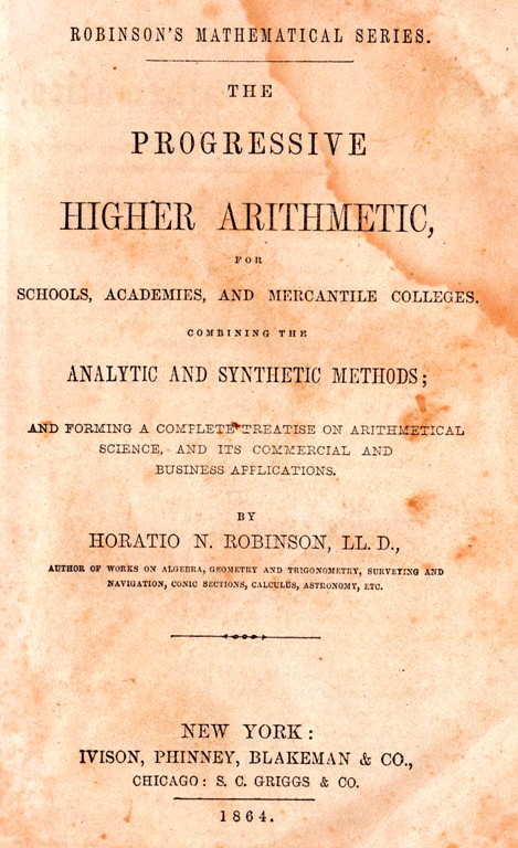 Robinson's Mathematical Series, Old School Book, 1864