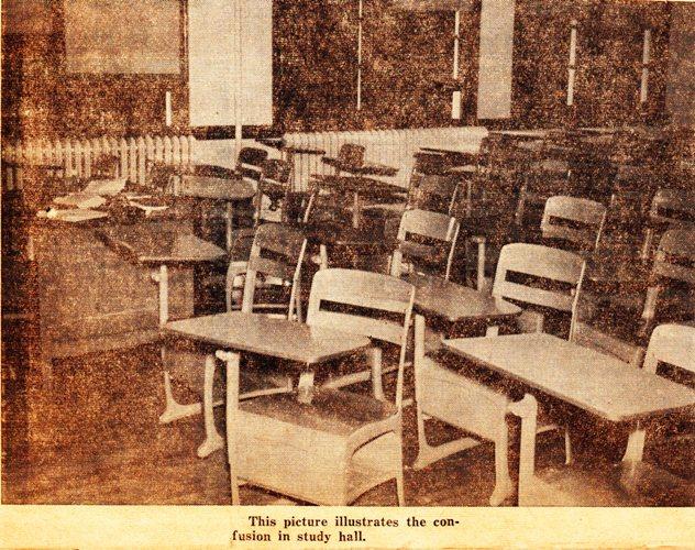 Study Hall, 1961 School Picture, classroom, desks, Hamburg High School