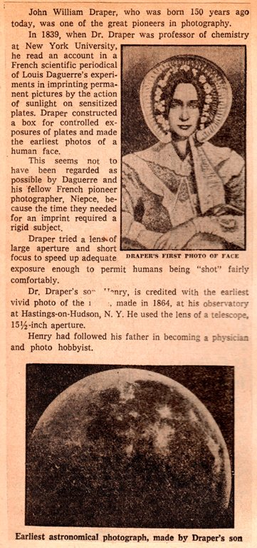 First Photo of Face, First Moon Photo, John William Draper, Early Photography
