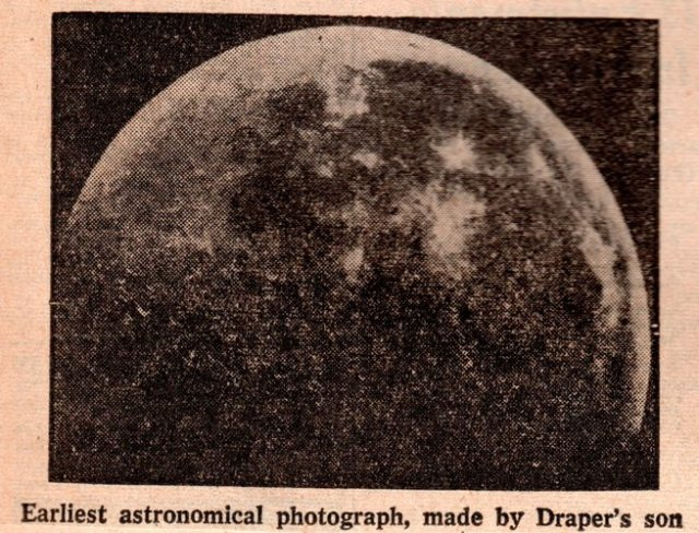 First Moon Photo, Henry Draper, First picture with telescope, Louis Daguerre