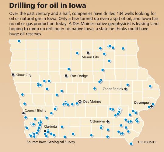 Iowa Oil Well Map, Des Moines Register, Iowa Oil, Drilling for Oil in Iowa