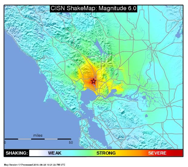 American Canyon Earthquake, Shakemap, 6.1 Earthquake