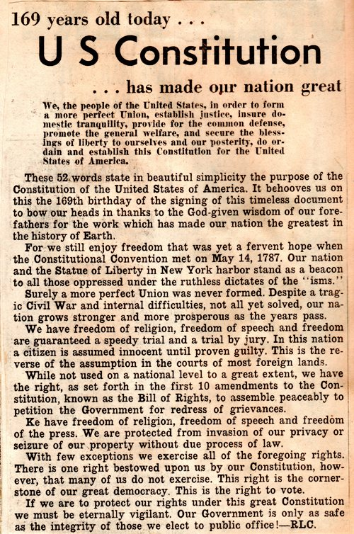 Constitution Day, We the People, History, Newspaper Clipping