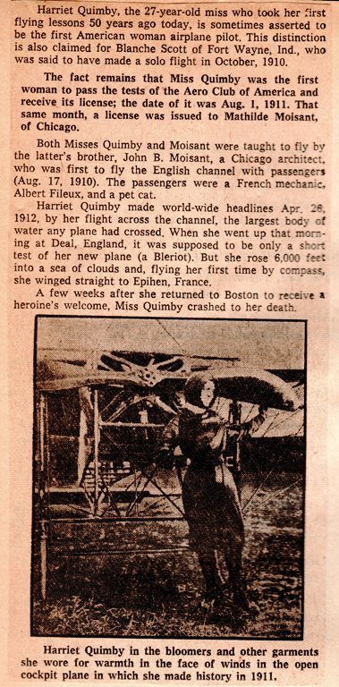 Harriet Quimby, First licensed female pilot, First Female Pilot, Channel Crossing