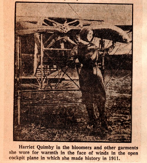 Harriet Quimby, Female Pilot, Airplane, Bloomers, 1911 Female Pilot, First Pilot License