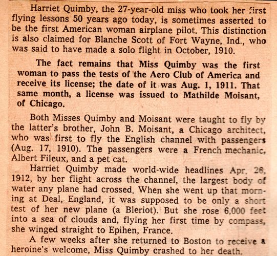 Harriet Quimby, Early Aviator, Female Aviator, First Woman to fly across English Channel