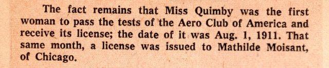 First Female Pilot License, Harriet Quimby, American Woman Pilot