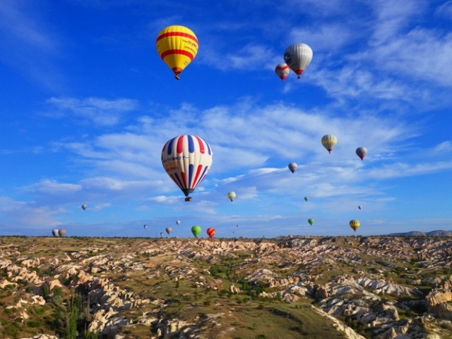 Floating over Cappadocia, Hot Air Balloon, Turkey, Cappadocia, Rock Formations