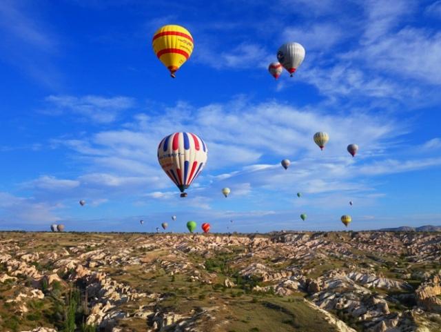 Floating over Cappadocia, Hot Air Balloon, Turkey, Cappadocia, Rock Formations