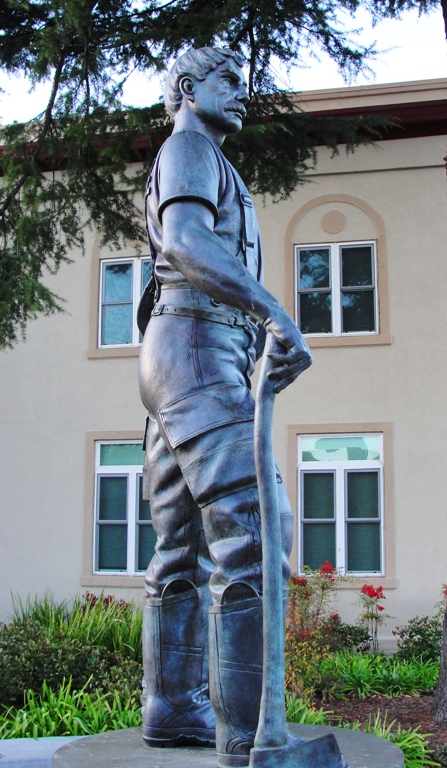 Firefighter Statue, Tracy, California, Lawrence Noble