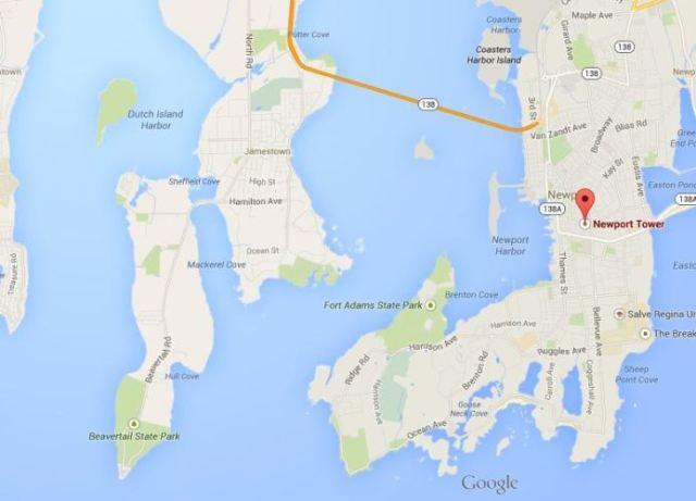 Newport Tower Location, Google Maps, Newport Rhode Island, Dutch Island