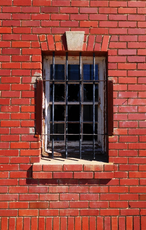 Brick Building, Window, Barred Window, Abandoned Building, Architecture, Patterson, California