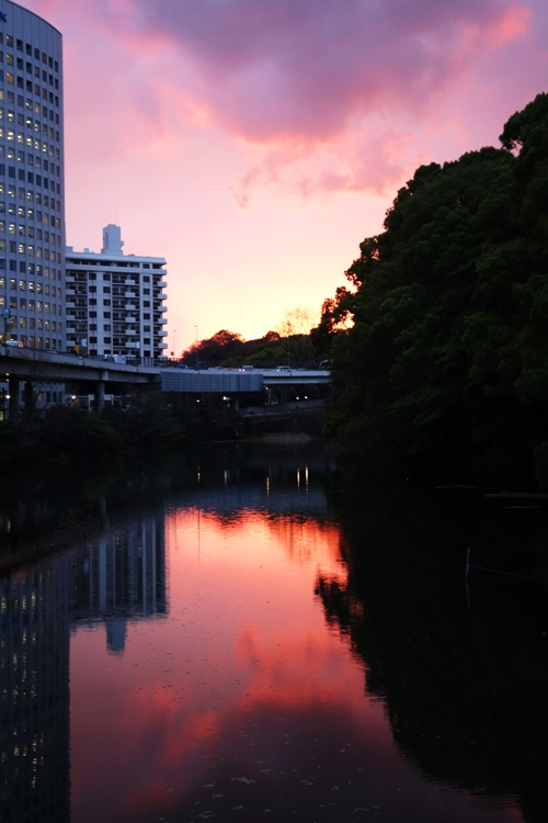 Urban Sunset, Sunset and Reflection, Red sky, Moat