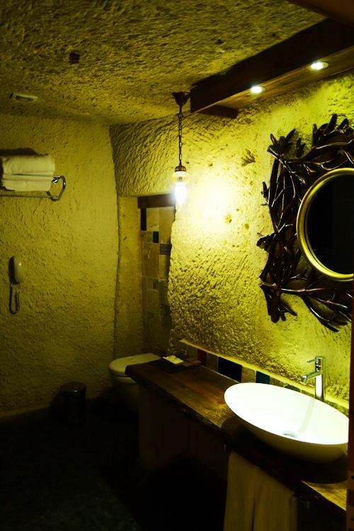 Cave Hotel Bathroom, Queens Cave Hotel, Ortahisar, Cappadocia, Turkey