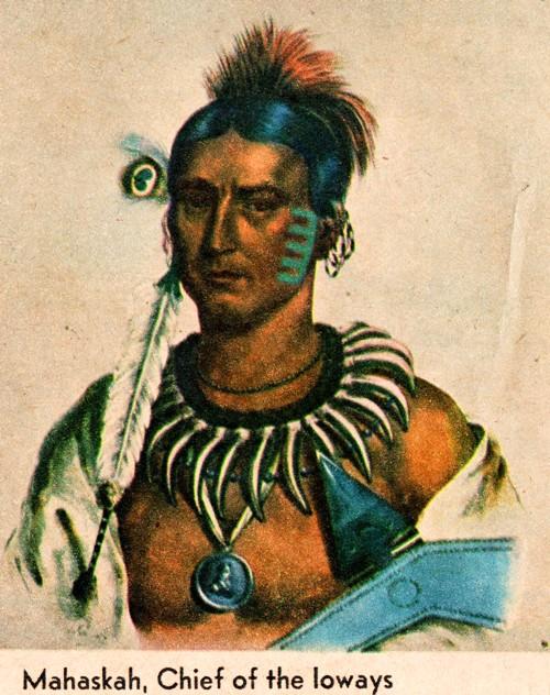 Chief Mahaska, Iowa Indians, native american chief, Iowa counties, Oskaloosa