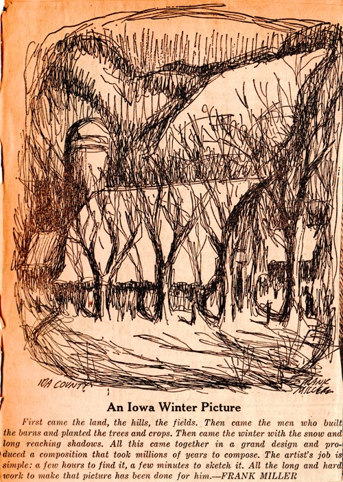 Iowa Winter, Frank Miller, Editorial Cartoon, Iowa, Farm in Snow