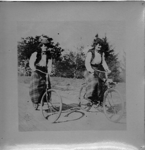 Women Riding Bicycles, 1890's, Solio Paper, Printing Out Paper, Old-Time Photography