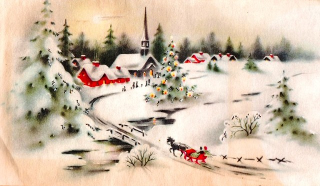 Snow Scene, Village in Winter, Horse and Sleigh, Winter Scene